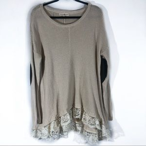 Altar'd state sweater lace elbow patches large
